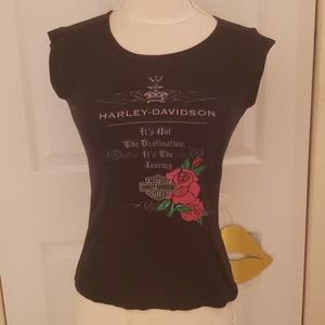 Harley Davidson Rose Crown Black Tee Shirt